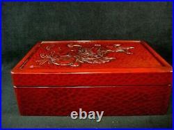 VINTAGE JAPANESE c. 1950 KAMAKURA BORI RED LACQUERED WRITING BOX SIGNED