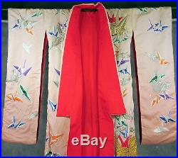 VINTAGE Japanese pink Kimono red lining cranes flying stitched on fabric 73tall