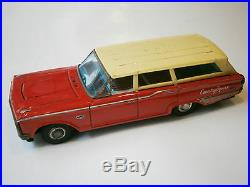 VINTAGE OLD JAPAN RED TIN TOY CAR FORD JAPANESE COUNTRY SQUIRE 1960's