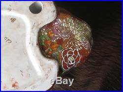 VINTAGE Signed Moriage SLEEPING CAT JAPANESE RED POTTERY 10