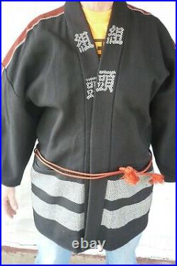 VTG. 1940's JAPANESE HAPPI HANTEN FIREFIGHTERS COAT SASHIKO BLK/RED WOVEN JAPAN