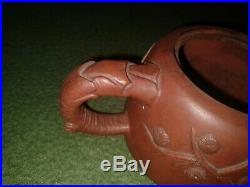 VTG Chinese/Japanese SIGNED tea teapot Withlid red pottery clay-HORSE-LION DOG-EC