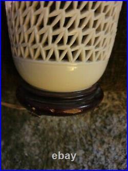 VTG Hollywood Regency Reticulated Blanc De Chine Cherry Blossom Lamp