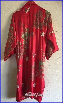 VTG Japanese Kimono Robe Silk Red Chrysanthemum Crane Gold Gorgeous Wearable Art