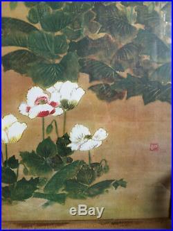 VTG Red and White Poppies Kitagawa Sosetsu Japanese Custom Framed Art Print EC