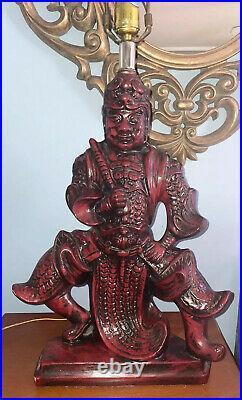 VTG Royal Haeger Lamp Co Red Samurai Japanese Asian Warrior Statue-Ceramic MCM