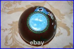 Very Fine Antique Japanese 6 Lidded Burgundy Plum Floral Cloisonne Ginger Jar
