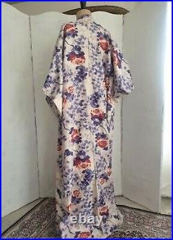 Vintage1950's Kimono Meisen Silk Japanese Robe Rose Print Purple & Red Size M/L