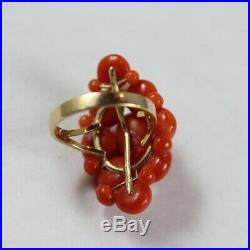 Vintage 10k Gold Natural Japanese Orange Red Coral with Akoya Pearl Ring 5.5US