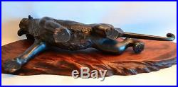 Vintage 1900s Signed Japanese Bronze Tiger on Wooden Stand with Red Patina