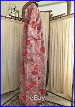 Vintage 1950's Japanese Pink Red Rose Print Kimono Robe Meisen Silk Coat