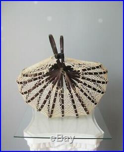 Vintage 1950s Japanese Folding Basket Handbag Bamboo String bag