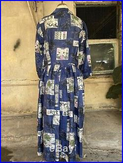 Vintage 1950s Japanese Print Silk Day Dress Button Up Cherry Blossoms Blue