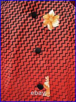 Vintage 1960/70s Japanese Zig Zag Floral Print Point Collar Shirt Dress Medium