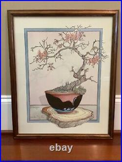 Vintage 1985 Art Print by Graham JCG Illingworth Japanese Bonsai Cherry Tree