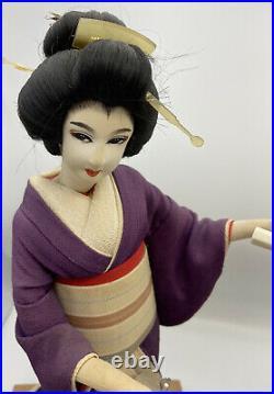 Vintage 60's Japanese Geisha Dolls & Shamisen on Wooden Base Set Of Two Geisha