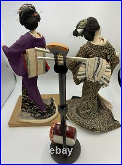 Vintage 60's Japanese Geisha Dolls in Kimono on wooden base-2 Dolls with Shamisen