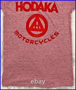 Vintage 70s HODAKA Motorcycles T SHIRT Red Ringer Japanese Biker Healthknit sz S
