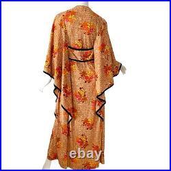 Vintage 70s Keyloun Psychedelic Japanese Cherry Blossom Kimono Caftan Dress M
