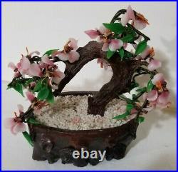 Vintage 9 Jade Glass Bonsai Tree Japanese Oriental Cherry Blossom in a Pot EUC