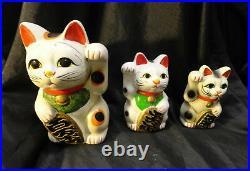 Vintage +9 Kokeshi & +4 Kokeshi's Dolls / Old Cherry Vase / Lucky 4 Cats
