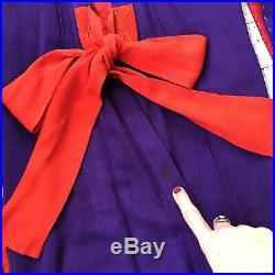Vintage Antique 1920s Japanese Crepe Silk Kimono, Purple & Red, Floral xxs