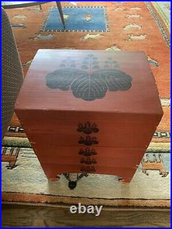 Vintage/Antique Japanese Jubako with Kiri Kamon (Family Crest) Decoration