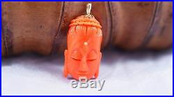 Vintage Antique Japanese Momo Red Coral KWAN YIN buddha PENDENT with 14K Gold