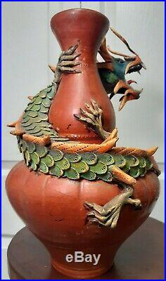 Vintage Asian Chinese Or Tokoname Japanese Red Clay Vase With Carved Wood Dragon