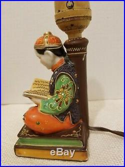 Vintage Asian Japanese Hand Painted Satsuma Scholar Lamp Moriage Accents Rare