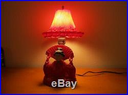 Vintage Asian Japanese Lady with Fan Glass Lamp Bobblehead Nodder Works Red