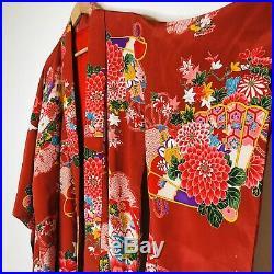 Vintage Authentic Japanese Silk Kimono Red Dahlia Floor Length Women XL Robe EUC