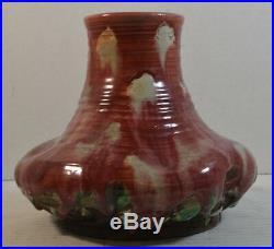 Vintage Awaji Japanese (Sumida Gawa) Art Pottery Vase with Red Drip Glaze