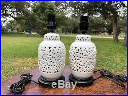 Vintage Blanc de Chine Japanese Reticulated Porcelain Cherry Blossom Lamps