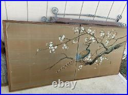 Vintage Byobu Japanese 2-Panel Folding Screen Peacock On Cherry Blossom Painting