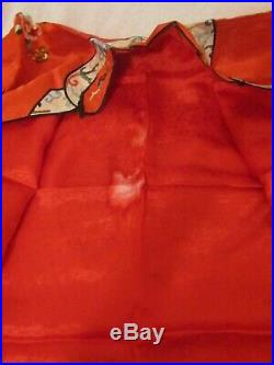 Vintage Chinese Red And White Silk Robe Embroidered Flowers Leaves Colorful