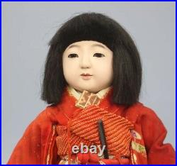 Vintage Early Showa Period Toko Ichimatsu Doll Girl H37cm Red Kimono With Table
