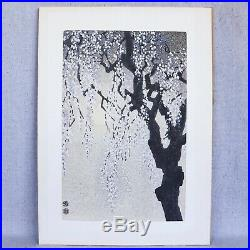 Vintage Eiichi Kotozuka 1950s Drooping Cherry Blossoms Japanese Woodblock Print