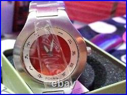Vintage Fossil BIG TIC Mens Watch RED Japanese Kanji Digital ANALOG withTIN JR8008