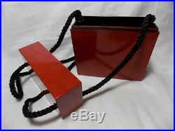 Vintage GENIE Japan Lacquerware China Red Color Evening Purse Bag
