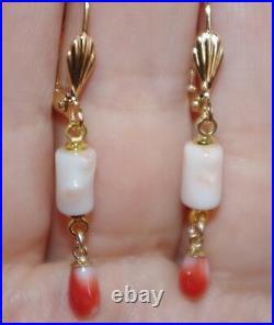 Vintage Genuine 14k Gf Japanese Angel Skin & Momo Red Coral Lever Back Earrings