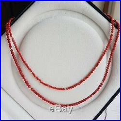 Vintage Genuine Japanese Red Coral Necklace + 18K Gold Spacers