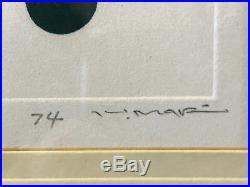 Vintage Haku Maki Signed Japanese Etching Print of Cherry 62/200 Marked 74
