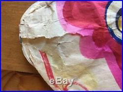Vintage Hand Painted Koinobori Red Japanese Paper Carp Kite Windsock Gold Eye