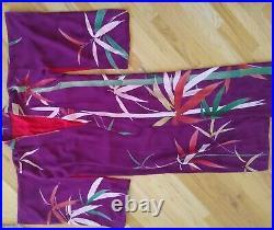 Vintage Hand Sewn Brocade Silk Kimono Eggplant Purple Bamboo Metallic Red Lining