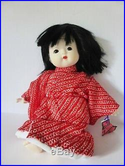 Vintage Ichimatsu Girl Doll, Japanese Traditional Bisque Doll in Red Silk Kimono