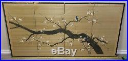 Vintage JAPANESE Four Panel SCREEN AUTHENTIC 70 x 36 SILKSCREEN cherry blossom