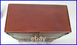 Vintage JAPAN Red Lacquer 5 Drawer Jewelry Box 12.75 t X 9.5 w X 4.5 d PRETTY