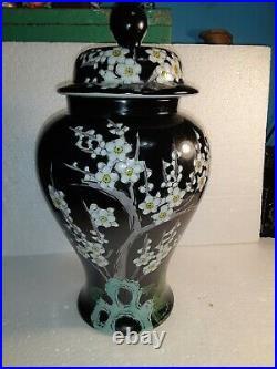 Vintage Japan Black With Cherry Blossoms Porcelain Temple Jar 12 1/2