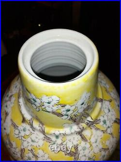 Vintage Japan Porcelain Yellow With Cherry Blossom Pattern Vase Urn With LID 17